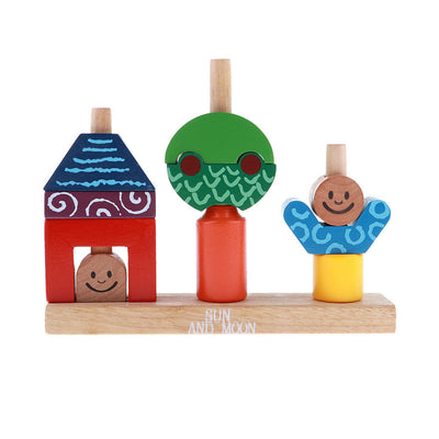 1x Wooden Building Blocks Kids Educational Geometric Matching Cognitive Toys