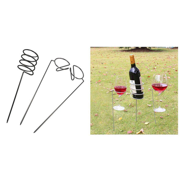 Wine Glass and Bottle Holder Stake Set for Outdoor Garden Picnic Beach Park