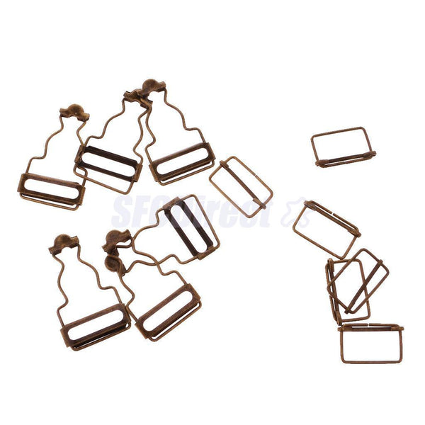 Set of 6 Bronze Dungaree Fasteners Clip Brace Buckles for Suspenders 38mm