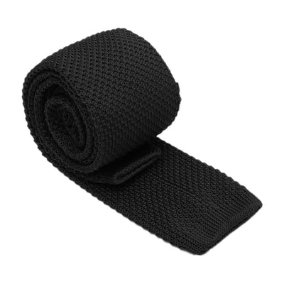Men narrow knitted Tie polka Uni Wedding, Black M8S7