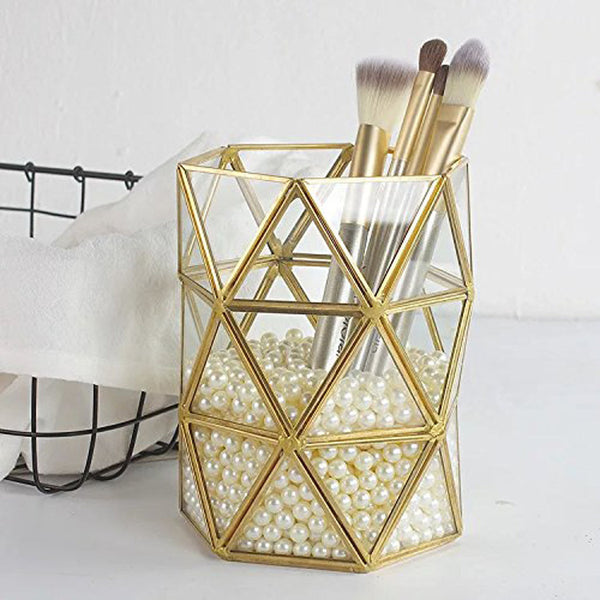 Exquisite Glass Makeup Brush Holder Pot
