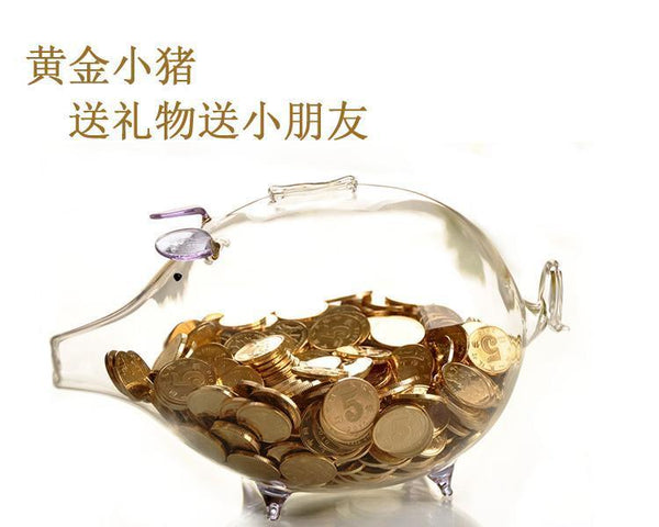 2Pcs Glass Money Box Coins Cash Saving Piggy Bank Gift Popular Home Decor