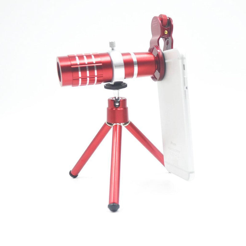 MagiDeal Universal Clip-on Optical Zoom Telescope Camera Lens For Phone Red
