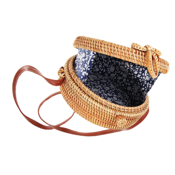 Light Brown Handmade Rattan Beach Bag for Travel Shopping Hollow Pattern