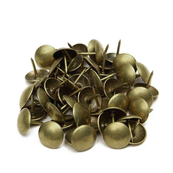 100Pcs Drawing Pins Brass Upholstery Thumb Tacks Push Board Cork 20 x 25mm