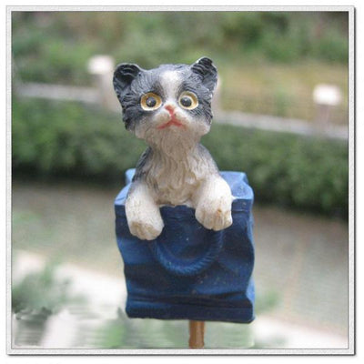 4pcs Rural Style Garden Cat Stick Stake Safty Lovely Animal for Home Table Decor