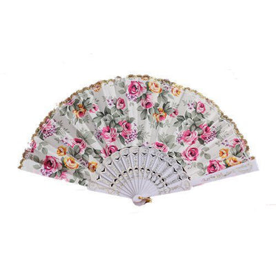 Flower Pattern Lace Trim White Chinese Folding Hand Fan S8Y0
