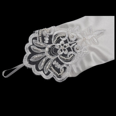 Lycra Fingerless Opera Length Long White Bridal Gloves M9O1 L7F9