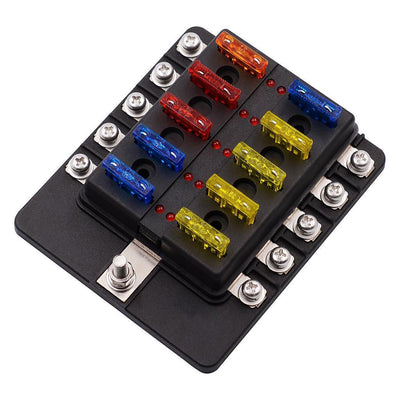 2pcs 10-Way Blade Fuse Box - Blown Red Fuse Indicator with Cover/100A Block