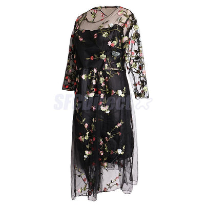Maternity Photography Black Embroider Gown Half Sleeve Dress for Photoshoot