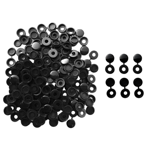 100Pcs Foldable Black Plastic Hinged Screw Cover Snap Cap for Auto Car Home