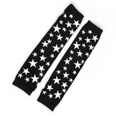 White Star Pattern Acrylic Fingerless Arm Warmers Long Gloves Black Pair L2T1