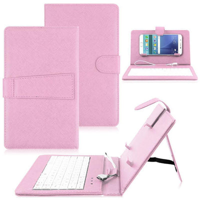 Micro USB Keyboard Leather Tablet Case Flip Stand Cover For Cell Phone Pink