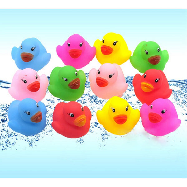 12 Pcs Colorful Baby Children Bath Toys Cute Rubber Squeaky Duck Ducky C7N