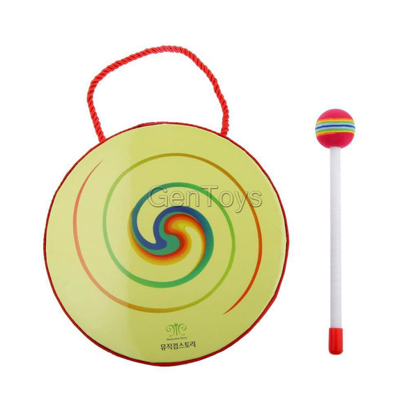 Hand Beat Drum w/ Mallet Hammer Kids Hand Drum Percussion Educational Toys