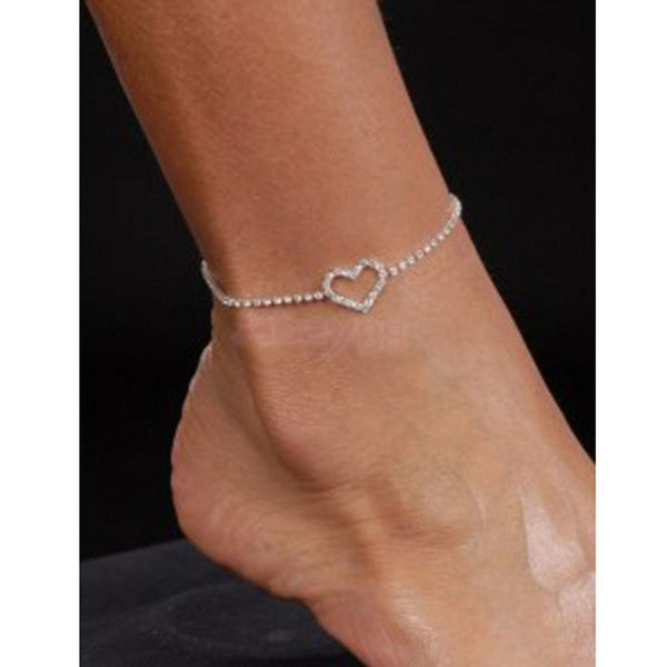 Diamante Crystal LOVE HEART Anklet Foot Chain Ankle Bracelet Wedding Beach