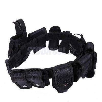 Tactical Security Guard Utility Kit Nylon Duty Belt w/ Pouch System Black