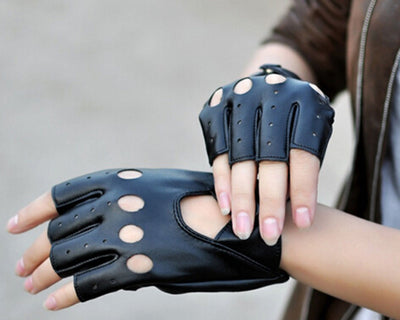 Lady PU Leather Mittens Fingerless Fad Punk Motorcycle Gloves Black fsw