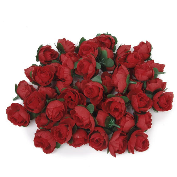 50 x DIY Artificial Rose Bud Silk Flower Head Home Wedding Garden Decor Red