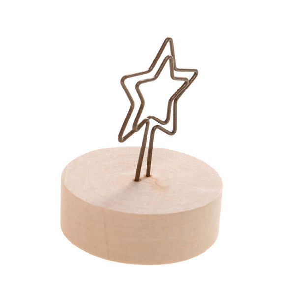 20pcs Star and Bird Wood Base Wire Table Place Name Card Display Office Tool