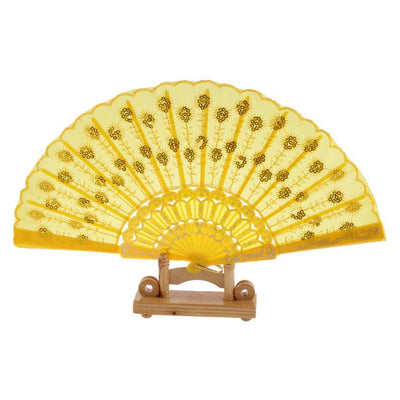 3x Spanish Wedding Dancing Party Lace Silk Folding Hand Held Flower Fan Yellow
