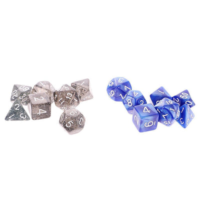 18 Packs of 7Pcs Number Multisided Dices Set Kids D&D RPG Game Accs w/ Bags