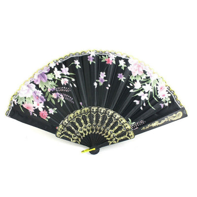 Plastic Frame Flower Pattern cloth Handheld Folding Fan Black J7H5