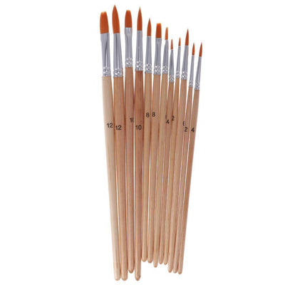 3x 12Pcs Artist Brush Set Art Paint Brushes for Watercolor Oil Gouache Painting
