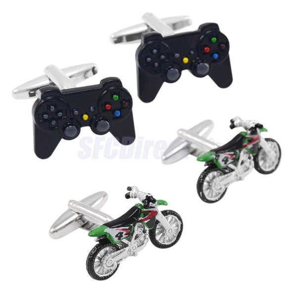 2pcs Creative Shirt Game Controllers Cufflinks Motorcycle Button Funny