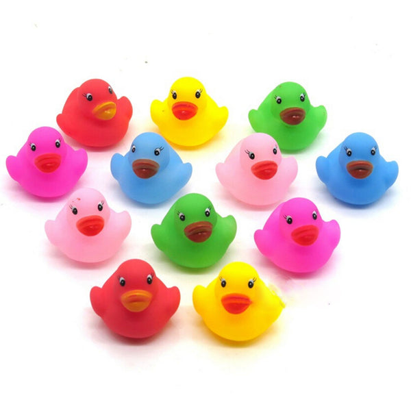 12 Pcs Colorful Baby Children Bath Toys Cute Rubber Squeaky Duck Ducky OZ