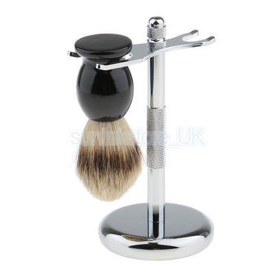 Stainless Steel Weighted Base Shaver Holder with Hair Removal Shaving Brush
