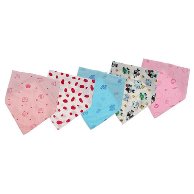 (Pack of 5) High Quality Baby Toddlers Soft Saliva Towel Triangle Roll Bibs