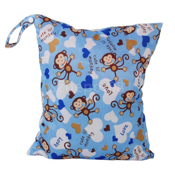 Dual Zipper POCKET Baby Cloth Diaper Nappy Bag Swim Travel Tote Monkey Blue