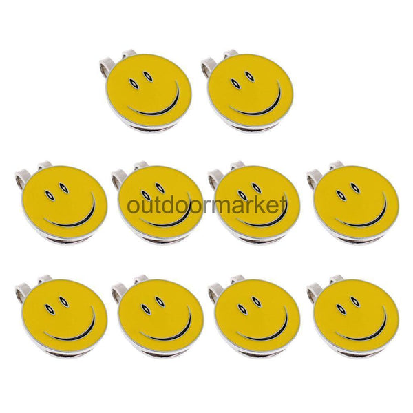 10 Sets of Happy Face Golf Ball Markers with Magnetic Golf Hat Clip