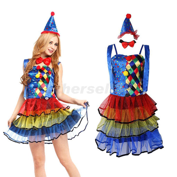 Funny Circus Clown Costume Princess Fancy Dress Halloween Christmas Outfit