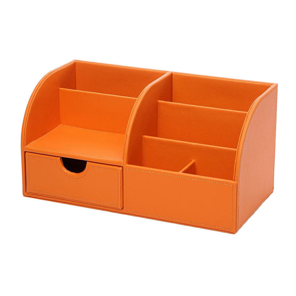 Home Office Desk Organizer Storage Box Table Pen Holder 7 Dividers Orange