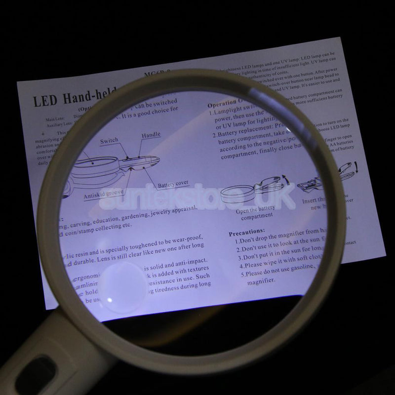 Led Lighted Magnifier Handheld 1.5X 5X Jewellery Loupe with UV Checking Lamp