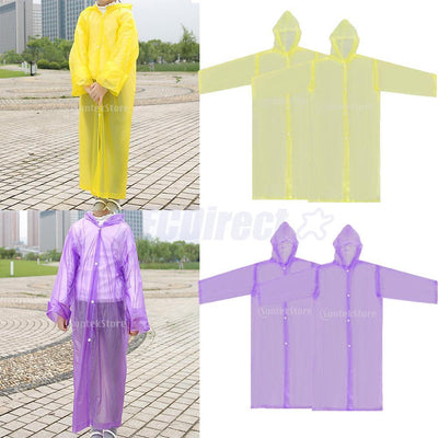 4 Unisex Kids Children Rain Poncho Portable Raincoat with Hoods and Sleeves