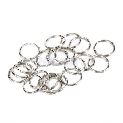 100 Nickel Plated Metal Double Loop Split Rings Keyring Bag Charm Rings 20mm