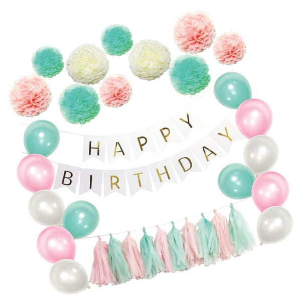 Happy Birthday Banner Garland PomPom Latex Balloons Tassels Party Decor Set
