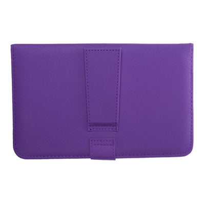 Micro USB Keyboard Leather Tablet Case Flip Stand Cover For Cellphone Purple
