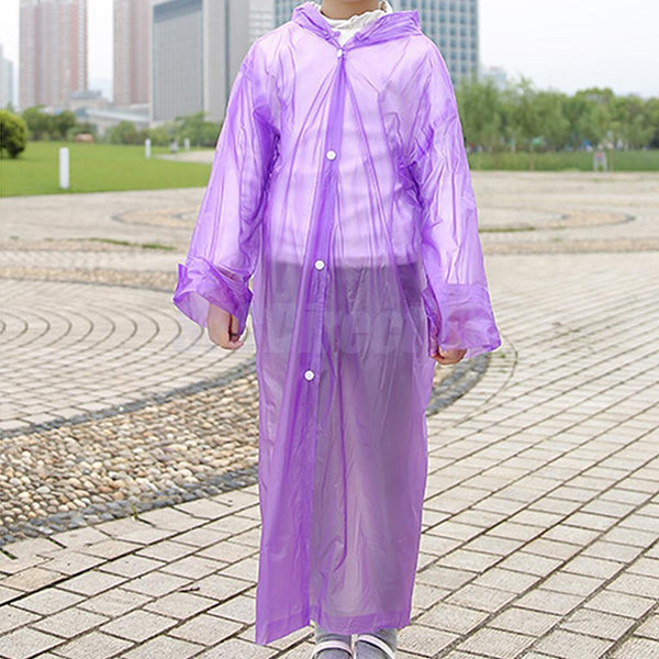 Unisex Kid Children Rain Poncho Portable Raincoat with Hoods and Sleeves Prp