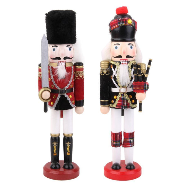 2PCS Wooden Solider Nutcracker Christmas Home Ornament Festival Decorations