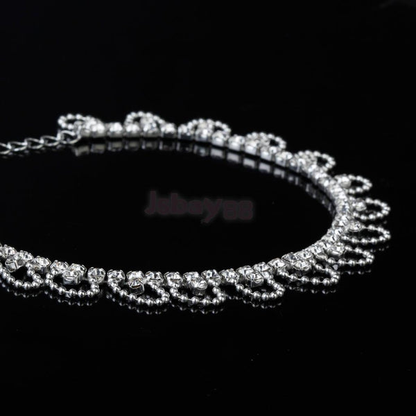 Women Ladies Crystal Wave Chain Anklet Ankle Bracelet Barefoot Foot Jewelry