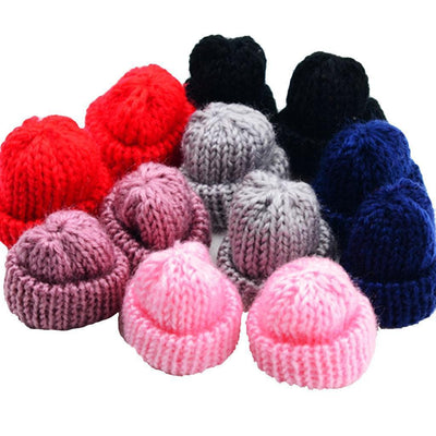 12pcs Mini Knitting Wool Yarn Hats for DIY Hair Bow Hanging Decoration