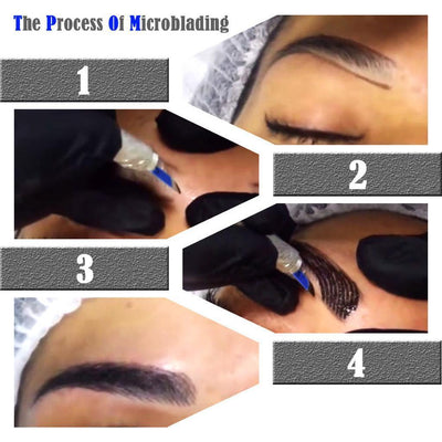 Microblading Permanent Eyebrow Tattoo Ruler Needles Pen Ink Pigment Kit Set