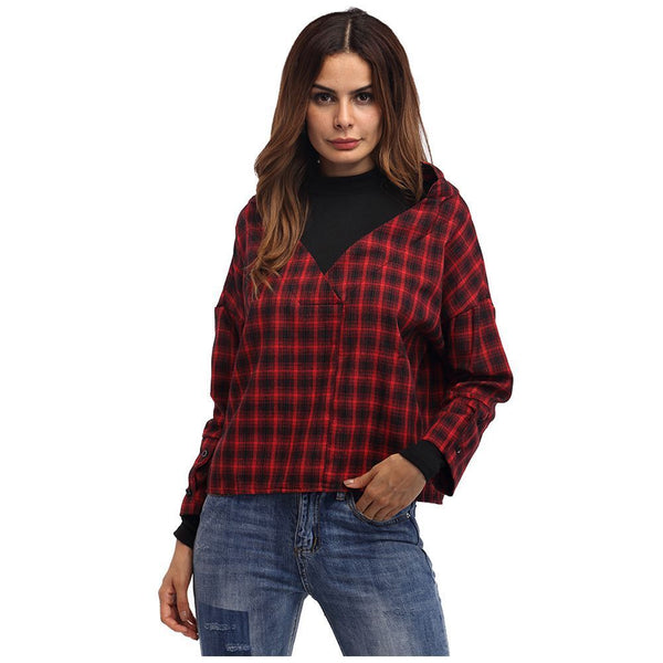 Women Red Plaid Patchwork Shirt Female Check Shirts Long Sleeve Spring Autu W7Y1