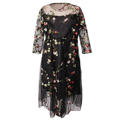 Black Embroider Maternity Photo Props Pregnancy Dress Floral pattern Dress