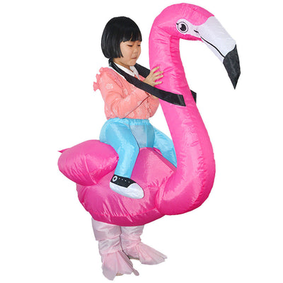 Inflatable Flamingo Rider Blowup Costume Kids Tropical Party Fancy Dress