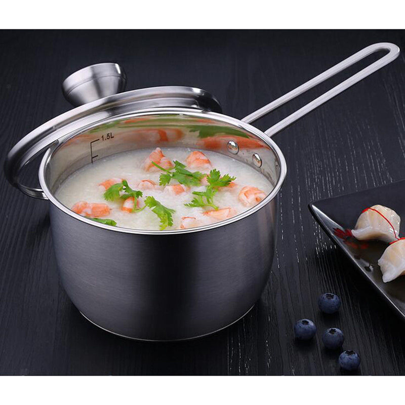 Stainless Steel Milk Pan Pot - Long Handle Cookware 17cm Saucepan Pot